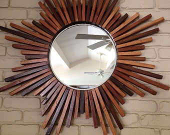 "40"" Sunburst Handmade Wood Frame Wall Mirror"