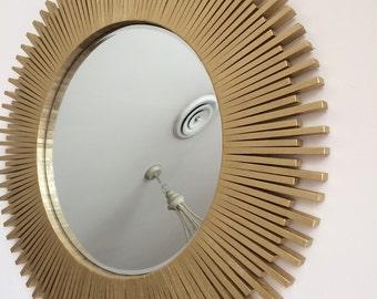 "Sunburst Wall Mirror Handmade Gold 26"""