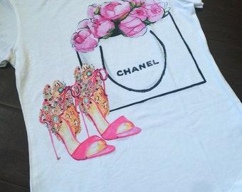Chanel handbag and shoes T-shirt