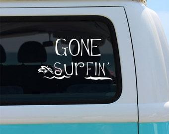 Gone Surfing Vinyl Window Decal - Car Sticker - Car Decal
