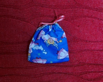 Cute Blue Small Handmade Gift Bag With Angel Design And Pink Ribbon Drawstring