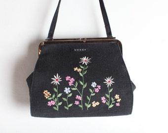 Vintage GUESS Grey Embroidered Floral Handbag