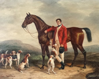 Original Leo Rawlings ( British 1918-1984 ) Oil On Panel of a Huntsman with Horse and Hounds in a Landscape / Equestrian Art /