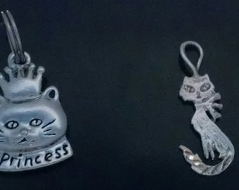 SALE!! Choice of Darling Stamped 925 Sterling Silver Cat Charms/Pendants
