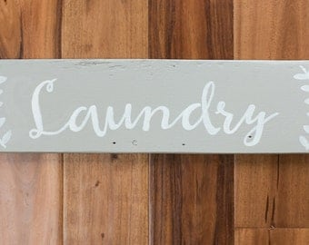 """Made To Order Reclaimed Wood Sign - """"Laundry"""""""