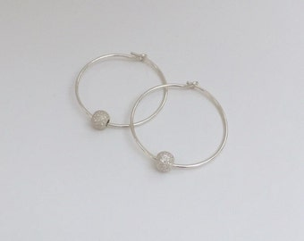 Delicate Sterling Silver Sparkle Bead Hoop Earrings/Delicate/Sparkle/Bead/Sterling Silver/Hoop/Earrings/Everyday/Gift/uk