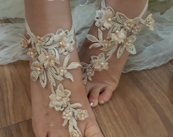 Ivory Champagne Barefoot Lace Anklet Champagne Flower lace barefoot Ivory lace barefoot sandals france lace barefoot Beach lace shoes