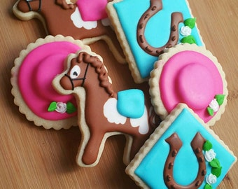 Decorated Iced Sugar Cookies Kentucky Derby Horse Fancy Hat Horseshoe