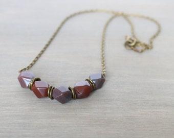 Fancy Jasper Bronze Necklace - Faceted Gemstone, Gemstones, Purple, Burgundy, Simple