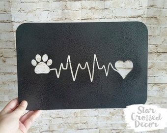 Paw Print and Heartbeat Dog Wall Decor