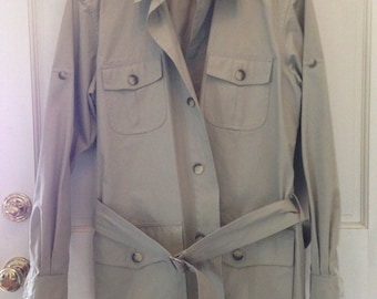 Banana Republic Safari Khaki Bush Jacket Belted Mens Safari Style Jacket Sz 42 Lg Patch Pockets Cleaned Excellent Condition