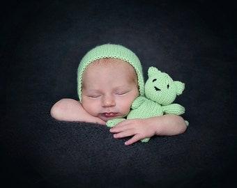 Newborn hat and teddy photo prop