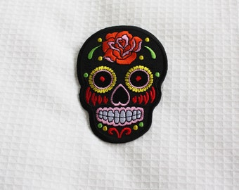 Day of the dead - Black, red or pink - Iron on patch