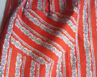 Vintage half apron, Retro kitchen apron with one pocket, Red white blue apron