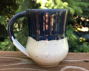 White and Blue Handmade Ceramic Mug, Wheel Thrown Ceramic Mug, Pottery Mug