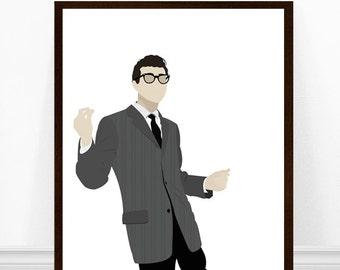 Buddy Holly Art Print, Buddy Holly Poster, Original Illustration, 1950s Music Poster, Buddy Holly Portrait Art