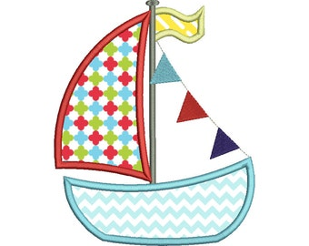 Sail Boat Nautical Embroidery Design Fill Instant download - 0304