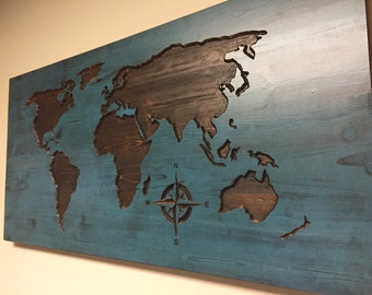 World Map Wood Wall Art carved world map wall art wooden world map wood decal world
