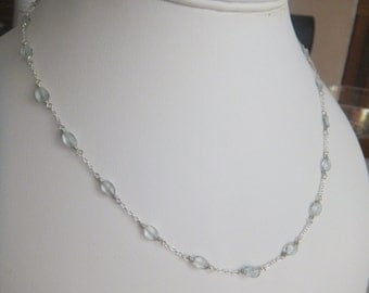 Aquamarine Faceted Ovals and Sterling Silver Chain Station Necklace.