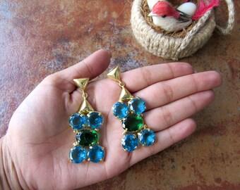Emerald Green Glass and Turquoise Blue Glass Dangle Earrings/Statement Earrings - Earrings for Women - DE260
