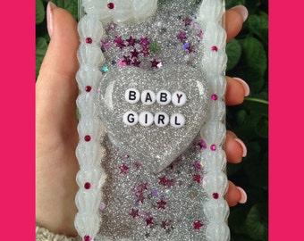 iPhone 6/s Baby Girl Glitter Waterfall Decoden Case