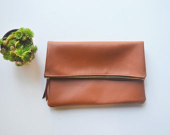 Brown leather clutch, Brown leather foldover clutch, Leather clutch, Brown leather bag, Minimalistic bag, Faux leather bag, Simple bag