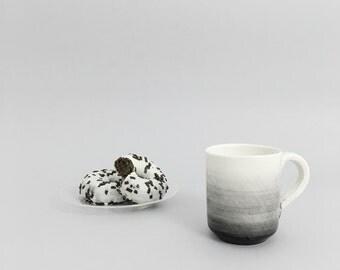 Taza para café con degradado negro, taza de cerámica hecha a mano para té - Regalo para hombre, regalos para el hogar