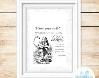 Alice In Wonderland - Vintage Alice - A4 Print - Alice In Wonderland Gift - Bonkers - Lewis Carroll - Mad Hatter