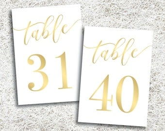 Printable Gold Wedding Table Numbers 31 - 40 | Instant Download | Printable Gold Table Numbers | Events | Banquet | Anniversary (FROST Set)