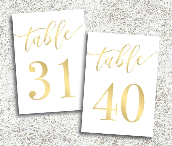 Printable gold wedding table numbers 31 40 instant for Table numbers for wedding reception templates