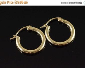 1 Day Sale 10K Hollow Hoop Earrings Yellow Gold
