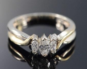 14K 0.61 CTW 3 Stone Diamond Marquise Engagement Ring - Size 8 / Yellow/White Gold - EM1728