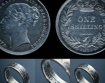 Couples Victoria sterling silver shilling ring set dated (subject to date availability)