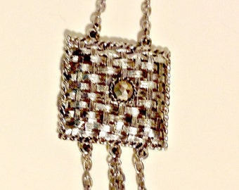 Necklace,Stunning,Silver Woven Medallion,Tassles, Frida Kahlo like Designs,Vintage Jewelry,Southwestern, GIft for  Women, Holiday Gift