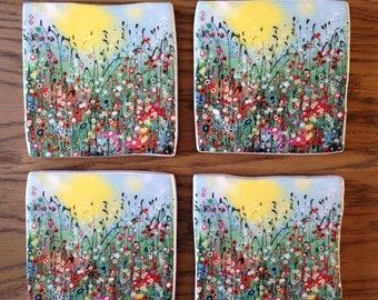 Ceramic Coaster with original design print 'Morning Glory' from my original artwork.