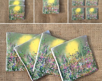 Handmade Ceramic Coaster set with an art print from my original painting 'Magical'