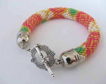 Pink roses bracelet Bead rope bracelet Beaded Embroidery Rose bracelet Flowers Crochet bracelet Beaded bracelet SHIPPING is free