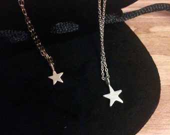 Star Necklace, star pendant, Both hanging pendant,  silver star necklace, simple star necklace,