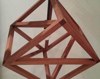 Geometric Cube Pendant Lamp - Wood Pendant Light - Brass and Sapele - Modern Minimalist Design