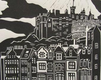 Edinburgh print, Edinburgh castle and Grassmarket hand cut lino print.