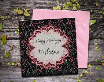 "Birthday greeting ""Dark Pink""-customizable birthday card floral style, romantic, Gothic"