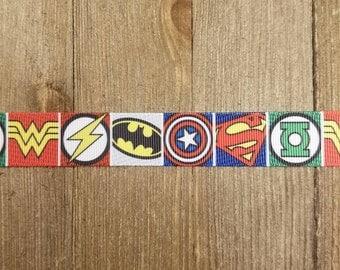 DC Comics Superhero 1 inch Grosgrain Ribbon Wonderwoman Flash Batman Captain America Superman Green Lantern
