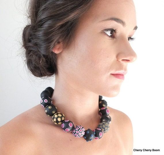 Statement necklace, necklace, jewellery, black necklace, one of a kind, bold, big beads, chunky, unique, elegant, artisan, chunky beads