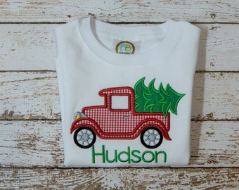 BOY'S CHRISTMAS SHIRT, Boy's shirt with Christmas tree; Boy's personalized Christmas shirt; Boy's Christmas; ships 3-5 days