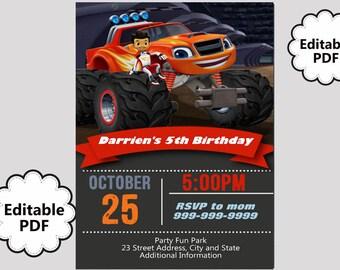 EDITABLE TEXT Blaze Birthday Invitation - Blaze Birthday Invites -  Blaze Birthday Invite -Instant Download