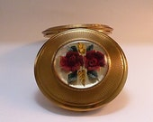 Kigu LUCITE Rose powder compact Valentines gifts for her vintage bridesmaids gifts pocket mirrors 1960