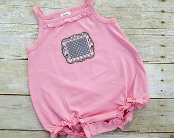 Monogram pink ruffle bubble outfit - sunsuit - personalized toddler romper