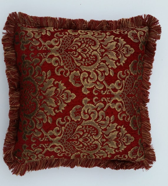 large embroidered chenille red and gold decorative throw
