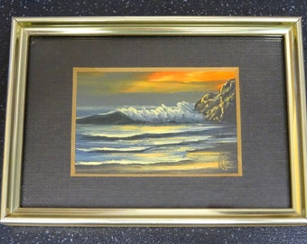 Original Vintage Miniature Oil Painting of Seascape Signed by Artist