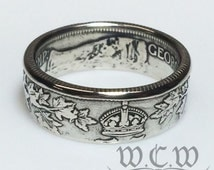 Sterling Silver Canadian Coin Ring - 1905-1919 Canada 25 Cents Coin